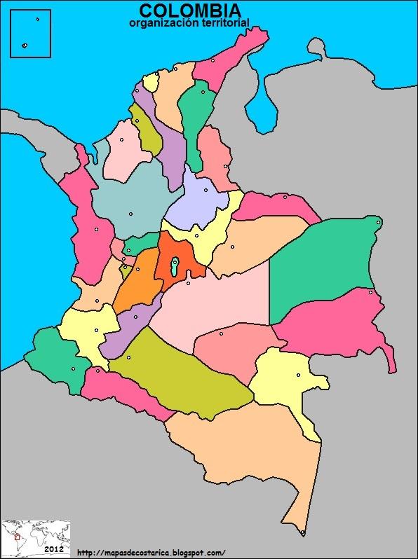Mapa de COLOMBIA , organización territorial