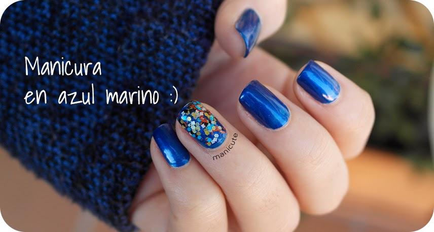 ManiCute | Nail art blog: Manicura sencilla en azul oscuro - SINFUL ...
