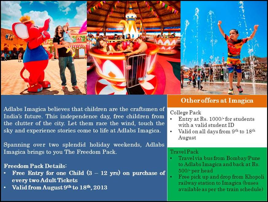 Adlabs imagica offers independence day freedom pack mumbai newsbox adlabs imagica offers independence day freedom pack fandeluxe Gallery