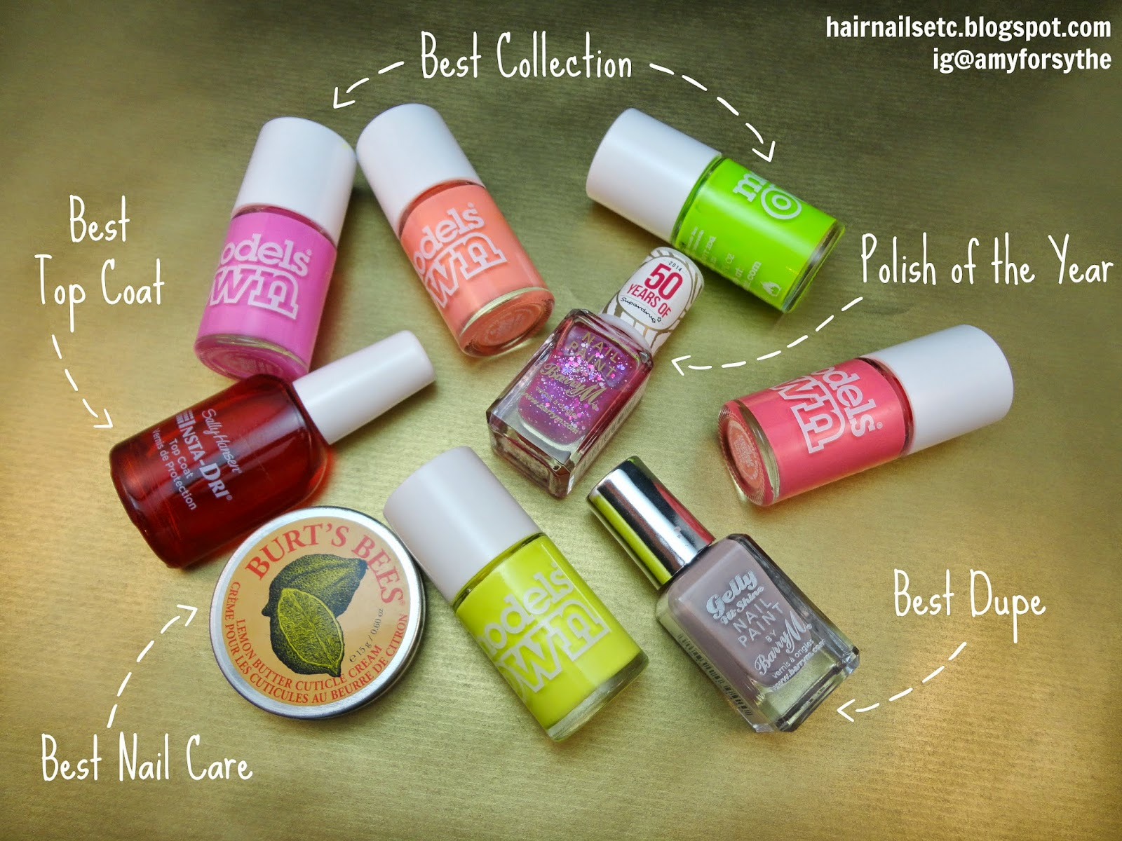 nail polish, 2014, Barry M, Models Own, Sally Hansen, Burt's Bees Cuticle Cream