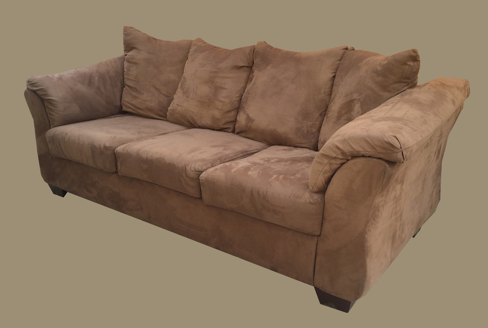 Brown Microsuede Sofa W/ Scatter Back Pillows   $195 $175 SOLD