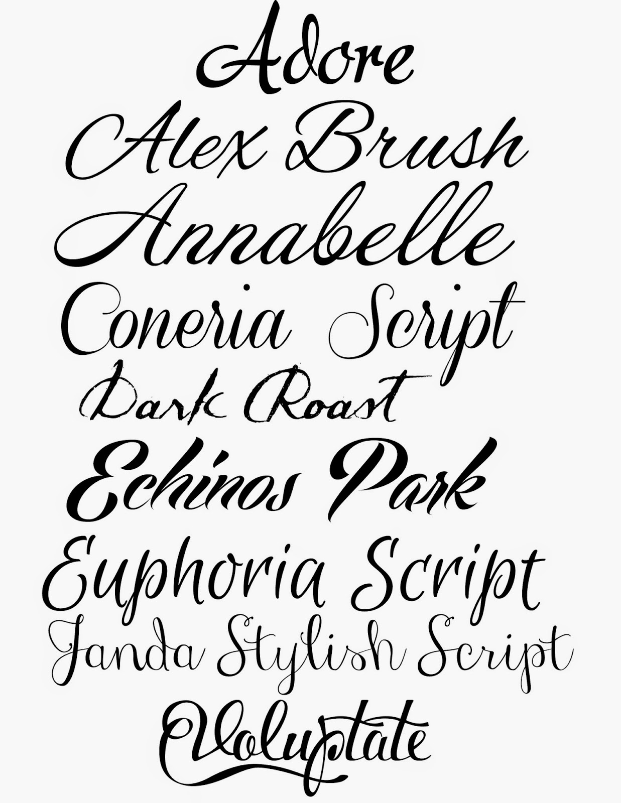 Doodlecraft how to fake script calligraphy for Flowy tattoo fonts