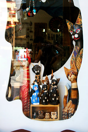 Cats at tourist shop in Toledo, Spain