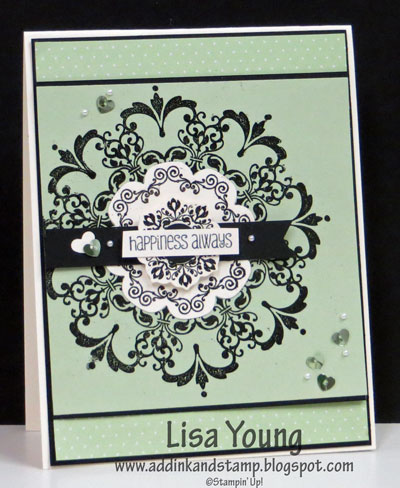 Stampin' Up! Daydream Medallion stamp set. Wedding card in light green and black. Handmade card by Lisa Young, Add Ink and Stamp