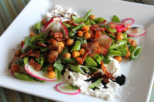 Snap Pea and Bacon Salad with Ricotta and Roasted Chickpeas