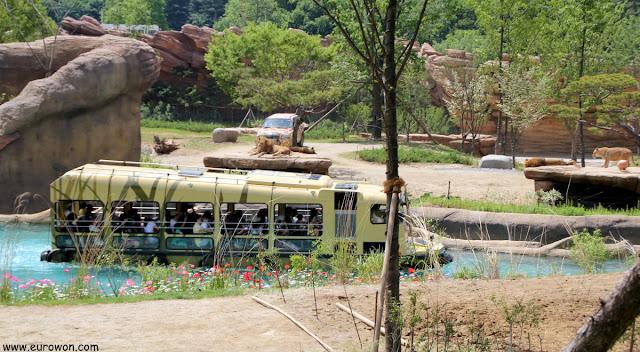 Vehículo anfibio flotando en Everland