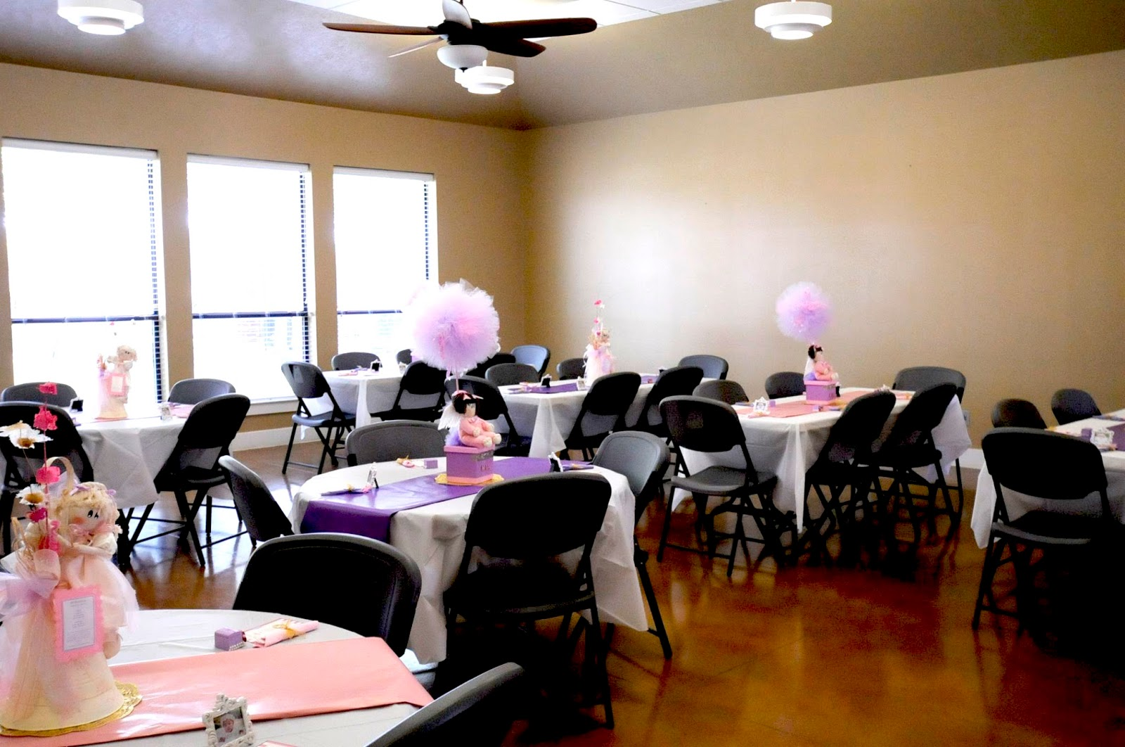 I Included Pink U0026 Purple Wrapping Paper Table Runners And The Family  Provided These ADORABLE Custom Centerpieces. Each Placesetting Had A Prayer  Card, ...