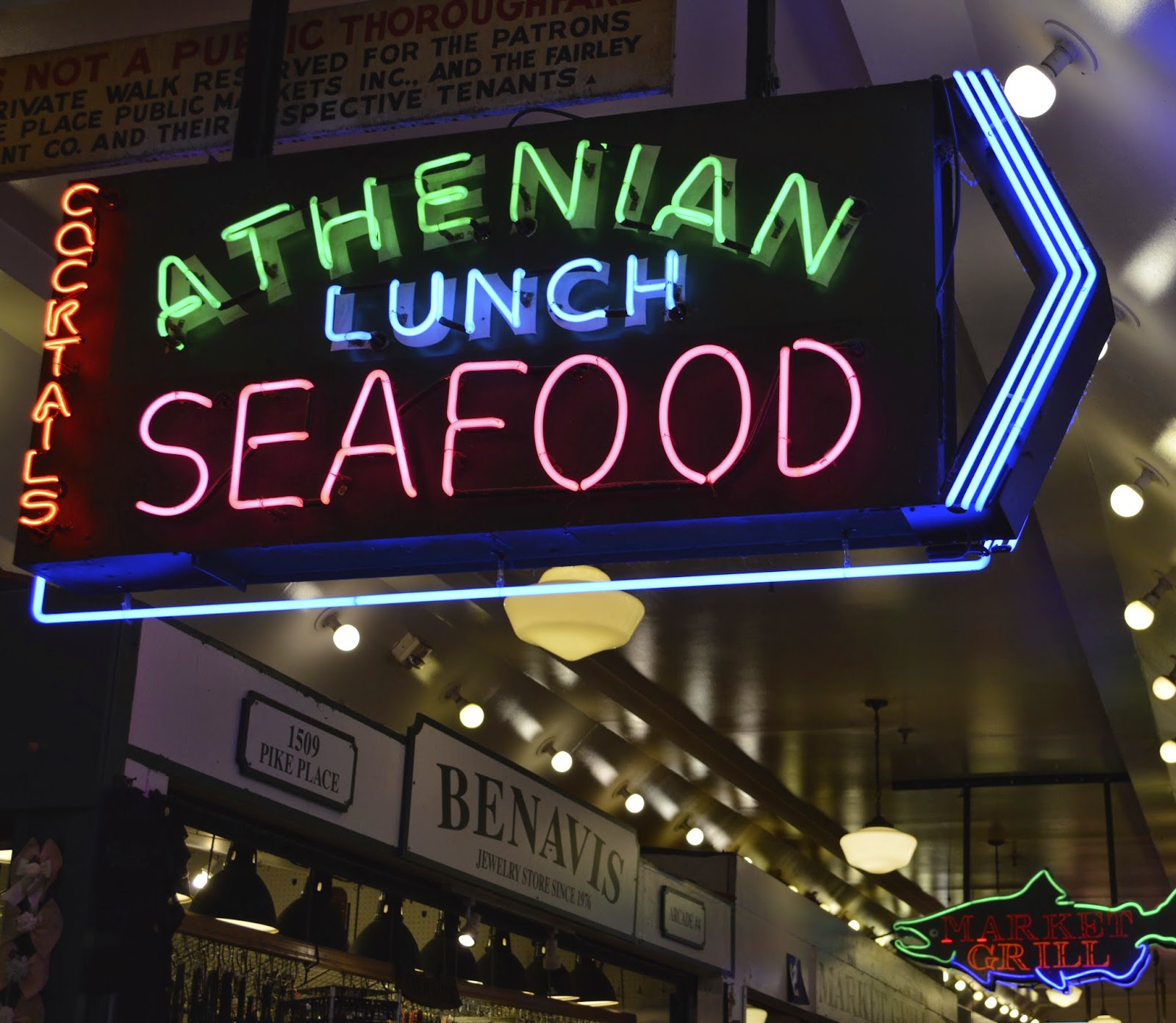 Neon sings. Pike Place Market