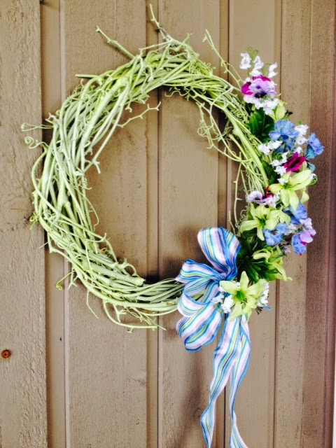 green and purple simple spring wreath Margaret Ryall