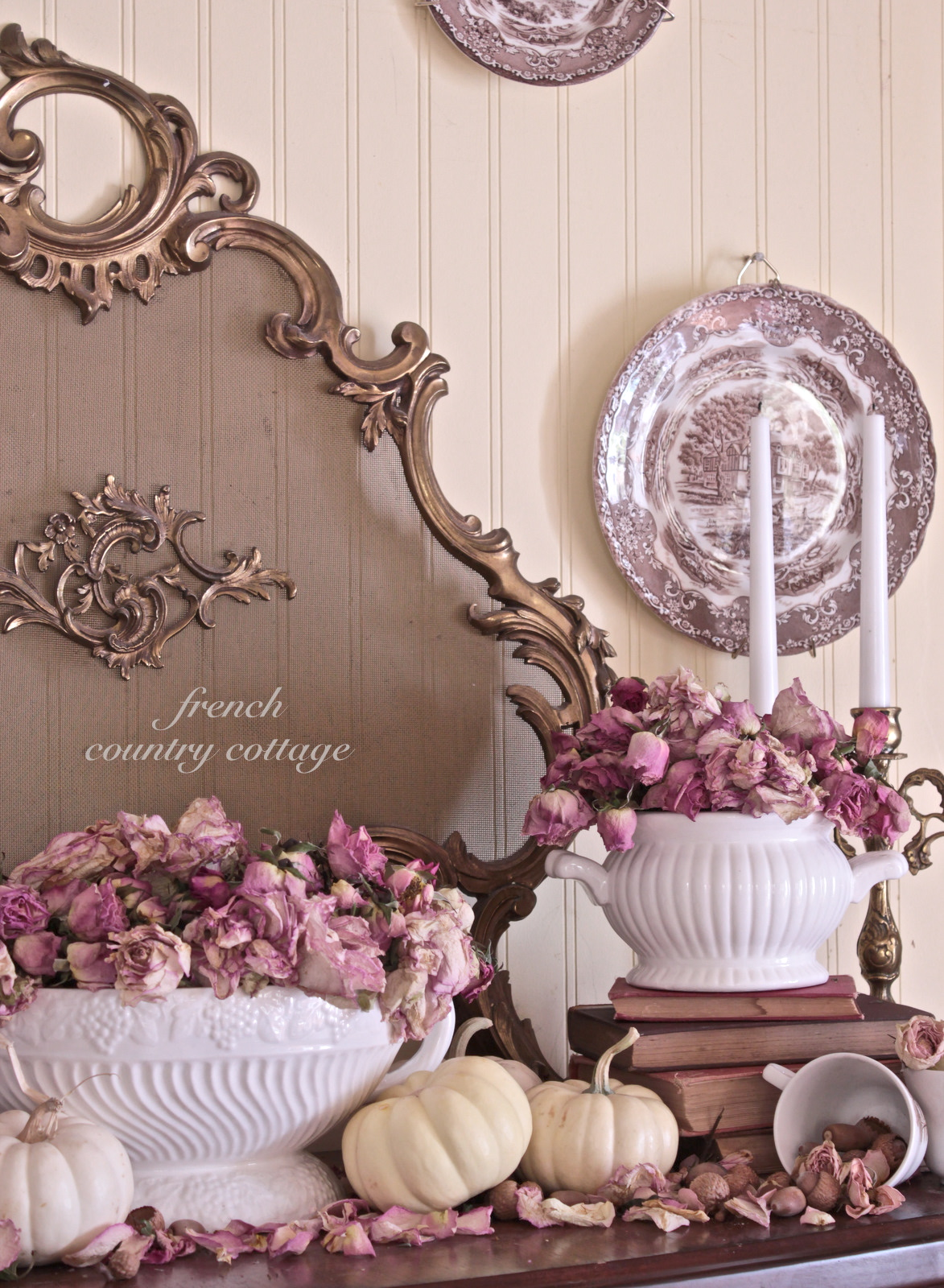 romantic autumn mantel french country cottage