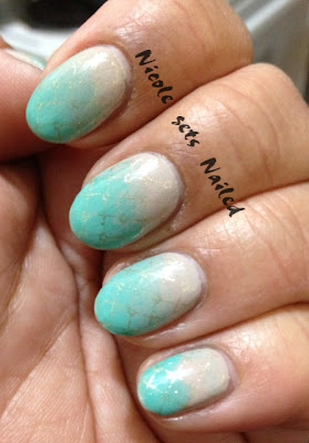 Nude and Green Gradient Stamped Gold
