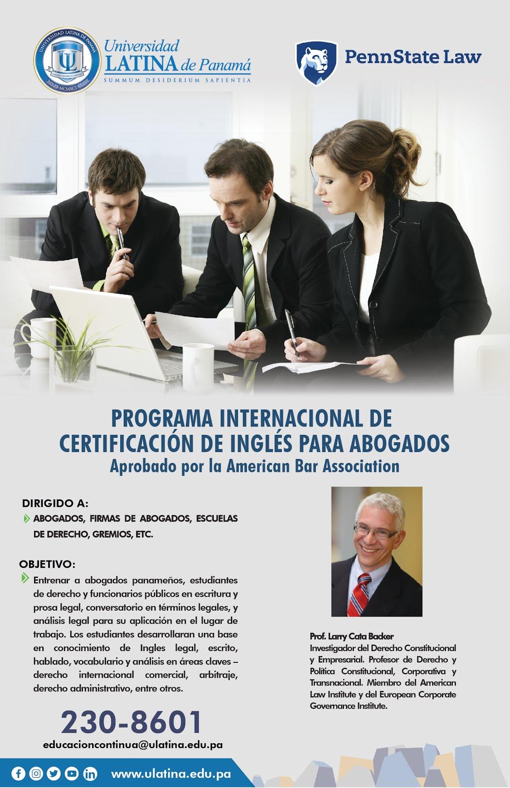 Porgrama Internacional de Certificación de Inglés para Abogados