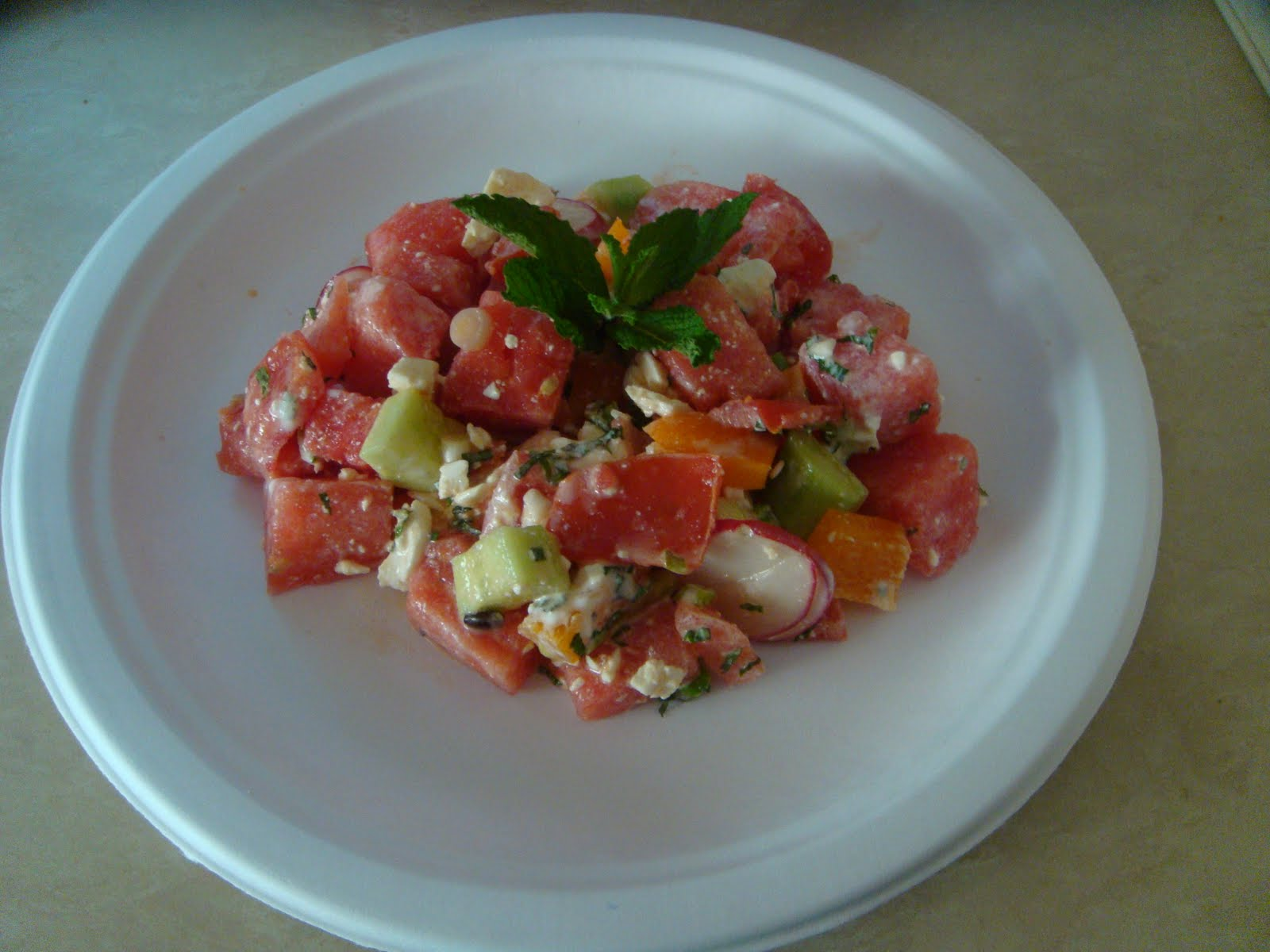 Creative Cooking: Chopped Veggie Salad with Watermelon and Feta Cheese