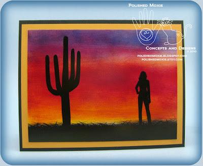 Front panel of my Handmade Desert Sunset Card.