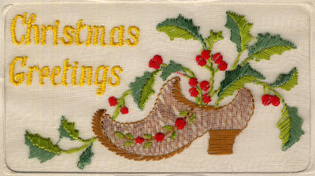 Embroidered postcard with Christmas image (D/DLI 13/2/210)