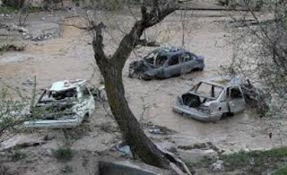 Iran flood damage cars