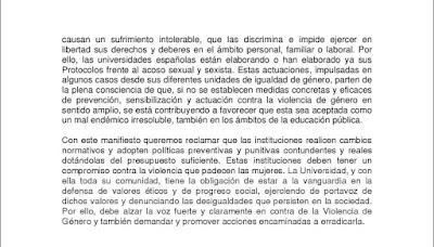 Manifiesto de la red de unidades de igualdad de género de las universidades españolas para la excelencia universitaria.