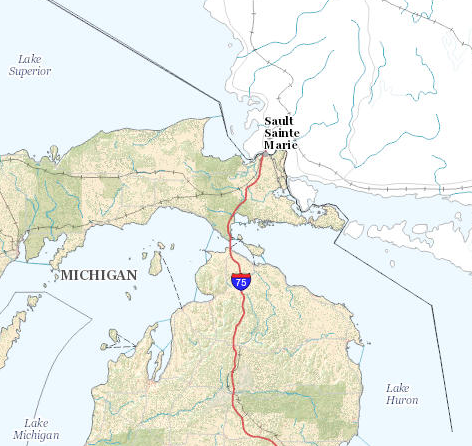 Map of Sault Ste. Marie