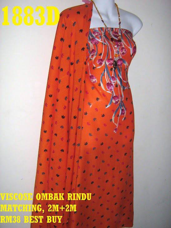 VOM 1883D: VISCOSE OMBAK RINDU MATCHING, 2M+2M, CORAK BUNGA TULIP