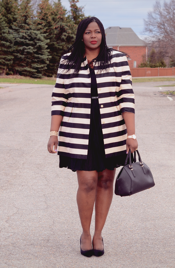 #Plussize striped jacket perfect for Spring #mycurvesandcurls
