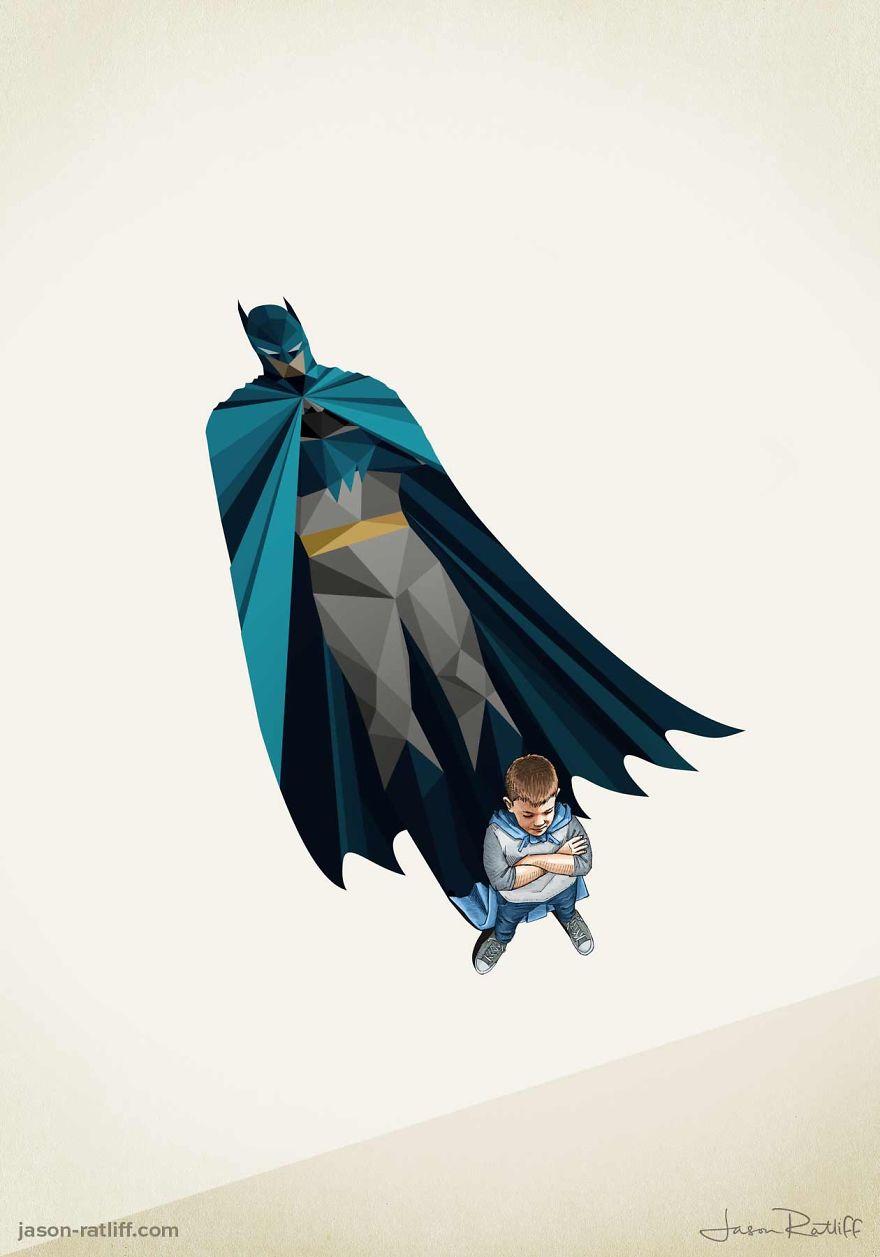06-Batman-Bruce-Wayne-Jason-Ratliff-Comic-Book-Heroes-in-Super-Shadows-Illustrations-www-designstack-co