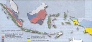 Peta persebaran jalur air tanah di Indonesia (Sumber: IPS Geografi untuk SLTP kelas 2, Erlangga)