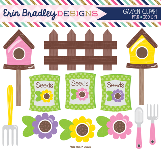 Erin Bradley Designs: New! Flower Garden Spring Clipart