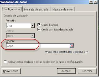 Validacíon de datos vinculada por aproximación en Excel.
