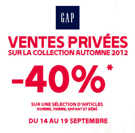 Le blog malin gap ventes priv es 40 de r duction du 14 au 19 septembre 2 - Vente privee retour article ...