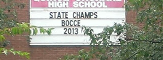 high school sign that says state champs bocce 2013