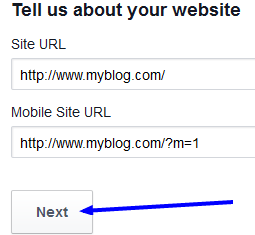 add your site url on facebook application