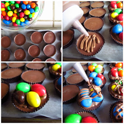 collage of how to make peanut butter cups with MandMs on top and chocolate
