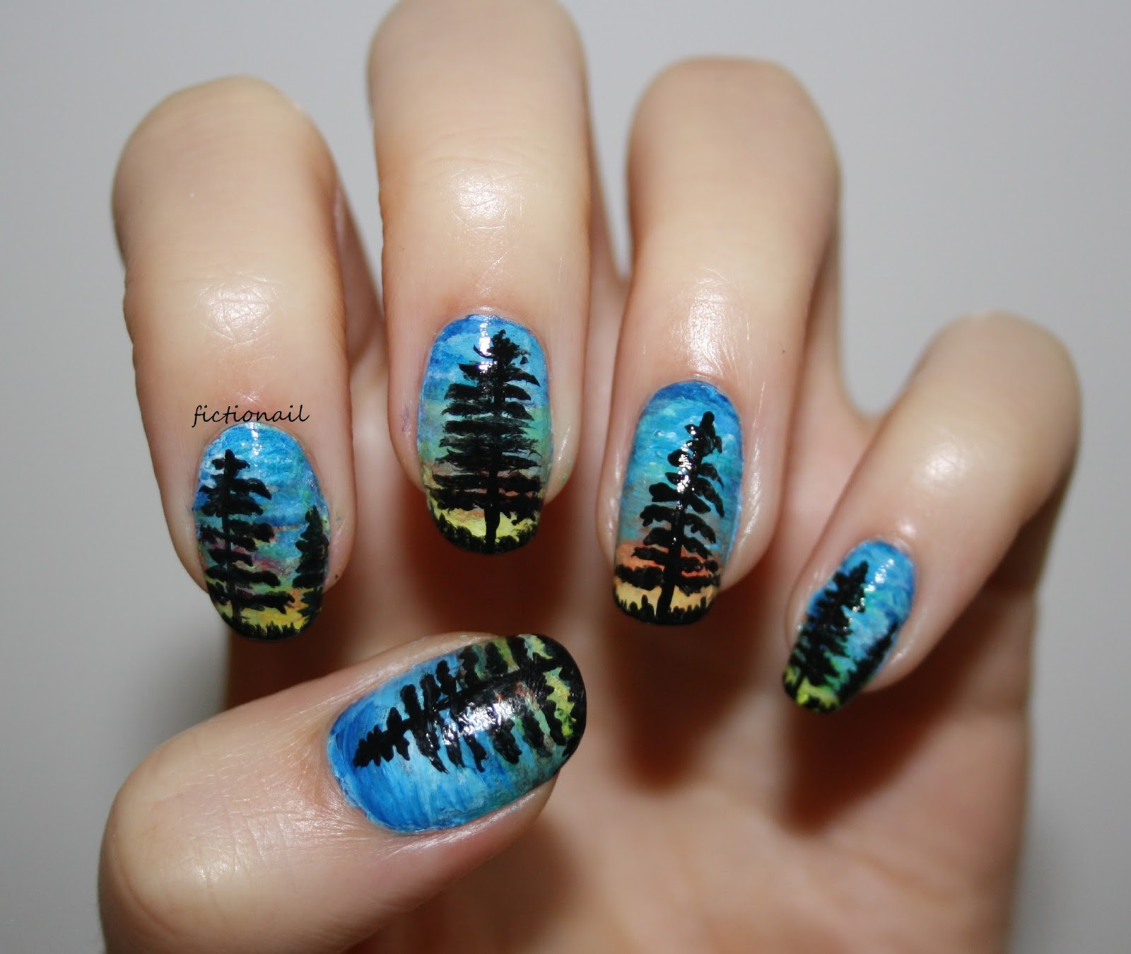 Forest Sunset Nails