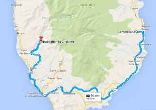 Itinéraire depuis votre gite Lamatéliane, location en Guadeloupe