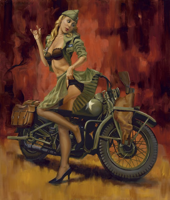 motorcycle pin up girl