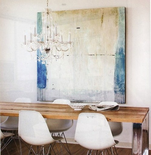 Design my heart out eclectic dining for Modern paintings for dining room