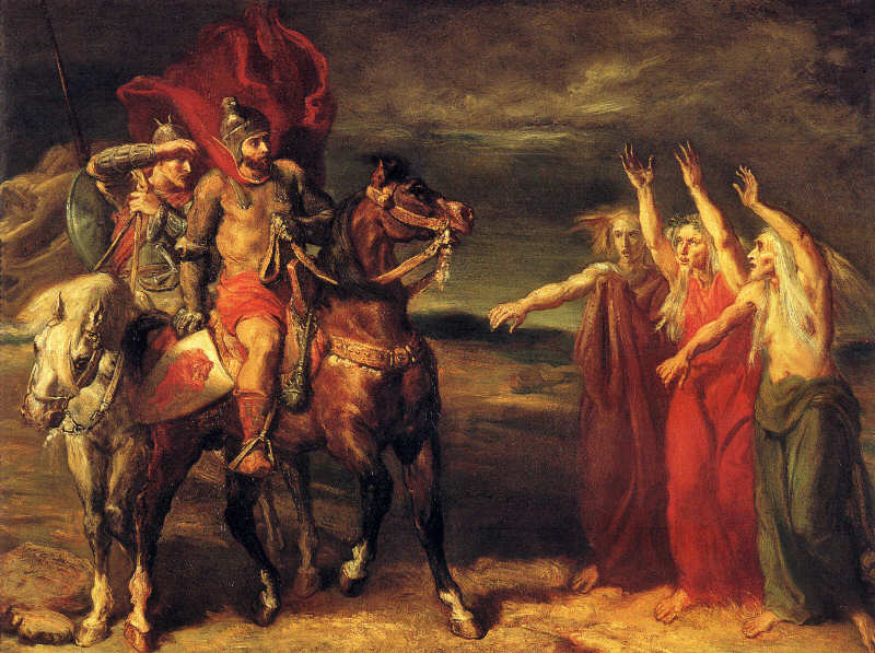 "Macbeth and Banquo meeting the witches on the heath"" 1855, by Théodore Chassériau in the Musée d'Or"
