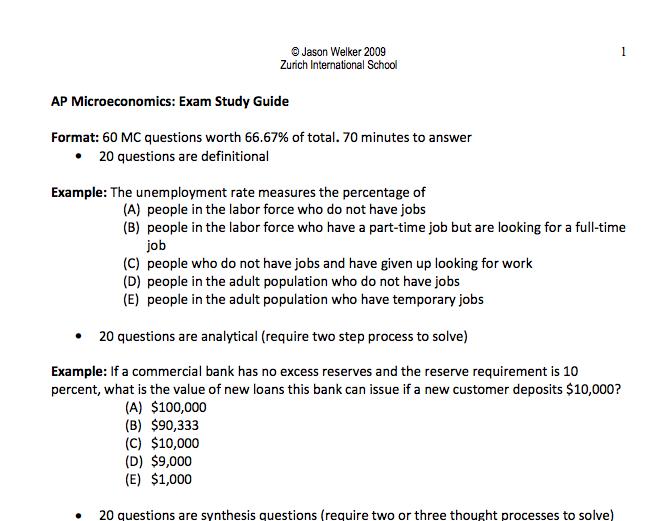 AP Microeconomics: Exam Study Guide Format: Example