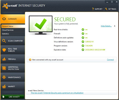 Screen Shot Of Avast! Internet Security Version 7.0 Full Version Mediafire Download Link