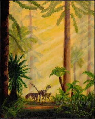 Deinonychus,raptor,Cretaceous,dinosaur,tree fern,cycad,macaw palm,Wollemia nobilis,wollemi pine,forest,mist,fog,yellow