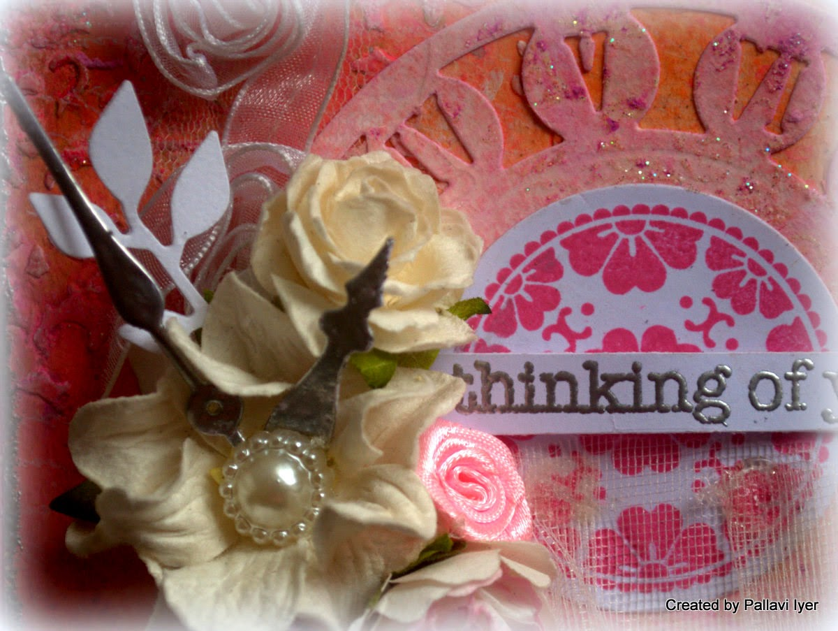 Card with texture and Faber Castell Gelatos