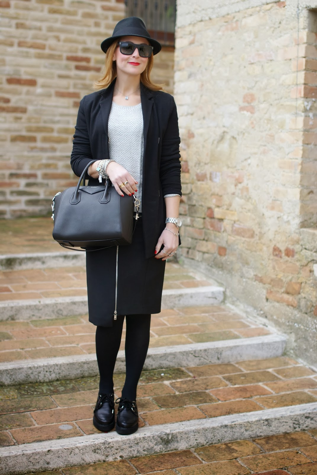 Zara zipper skirt, Nico Nico blazer, Penelope creepers, Givenchy Antigona bag, Fashion and Cookies, fashion blogger