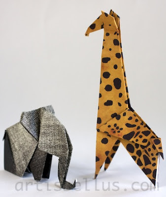 Origami Animals: Elephant and Giraffe