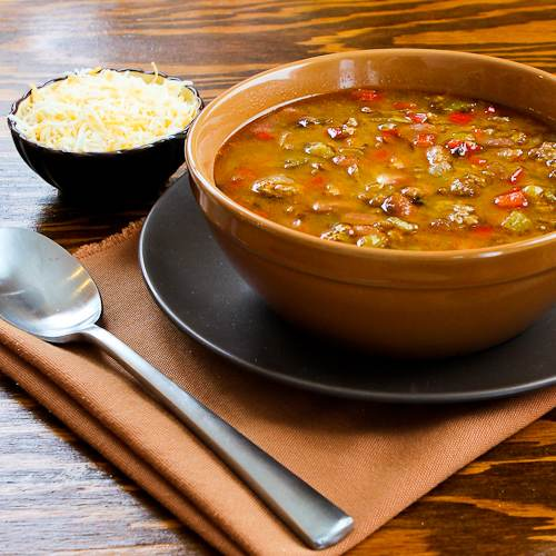 Spicy Slow Cooker soup with Ground Turkey, Pinto Beans, Red Bell Pepper, and Green Chiles