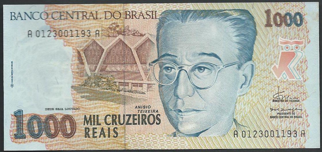 notas e moedas: Pick# 240 - 1,000 Cruzeiros Reais ND(1993)