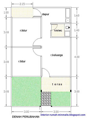 Gambar Denah Rumah KPR Type 21/60