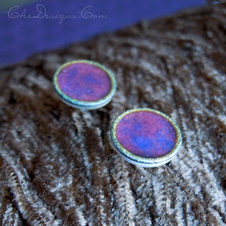 Sterling Silver Handmade Enameled Post Earrings in Violet and Fuschia