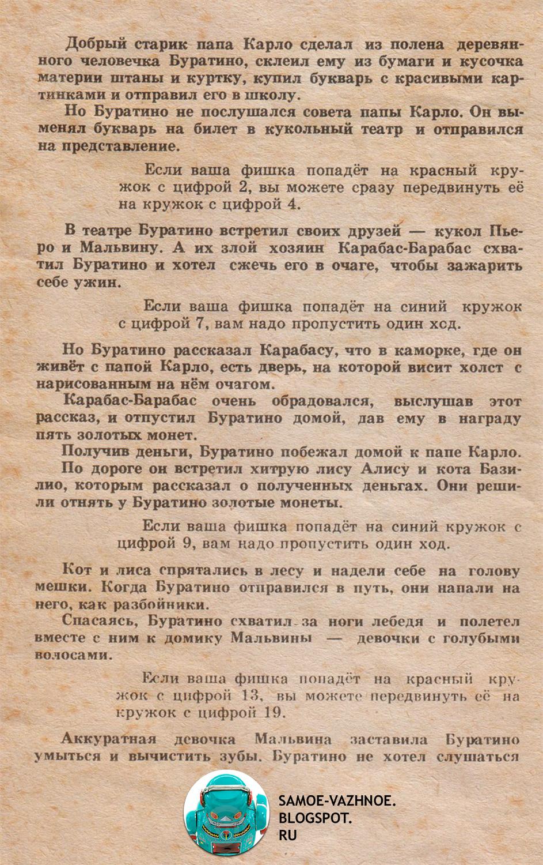 Настольная игра Золотой ключик СССР правила