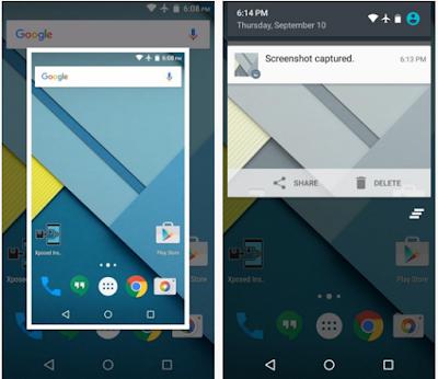 screenshot berhasil di ambil di android