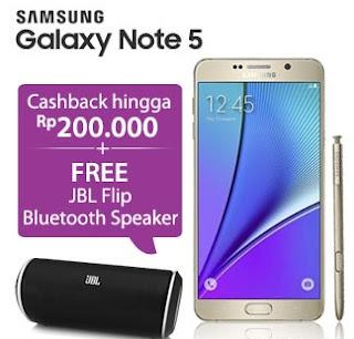 Galaxy Note 5 cashback hingga Rp 200 ribu dan bonus JBL Flip Bluetooth Speaker